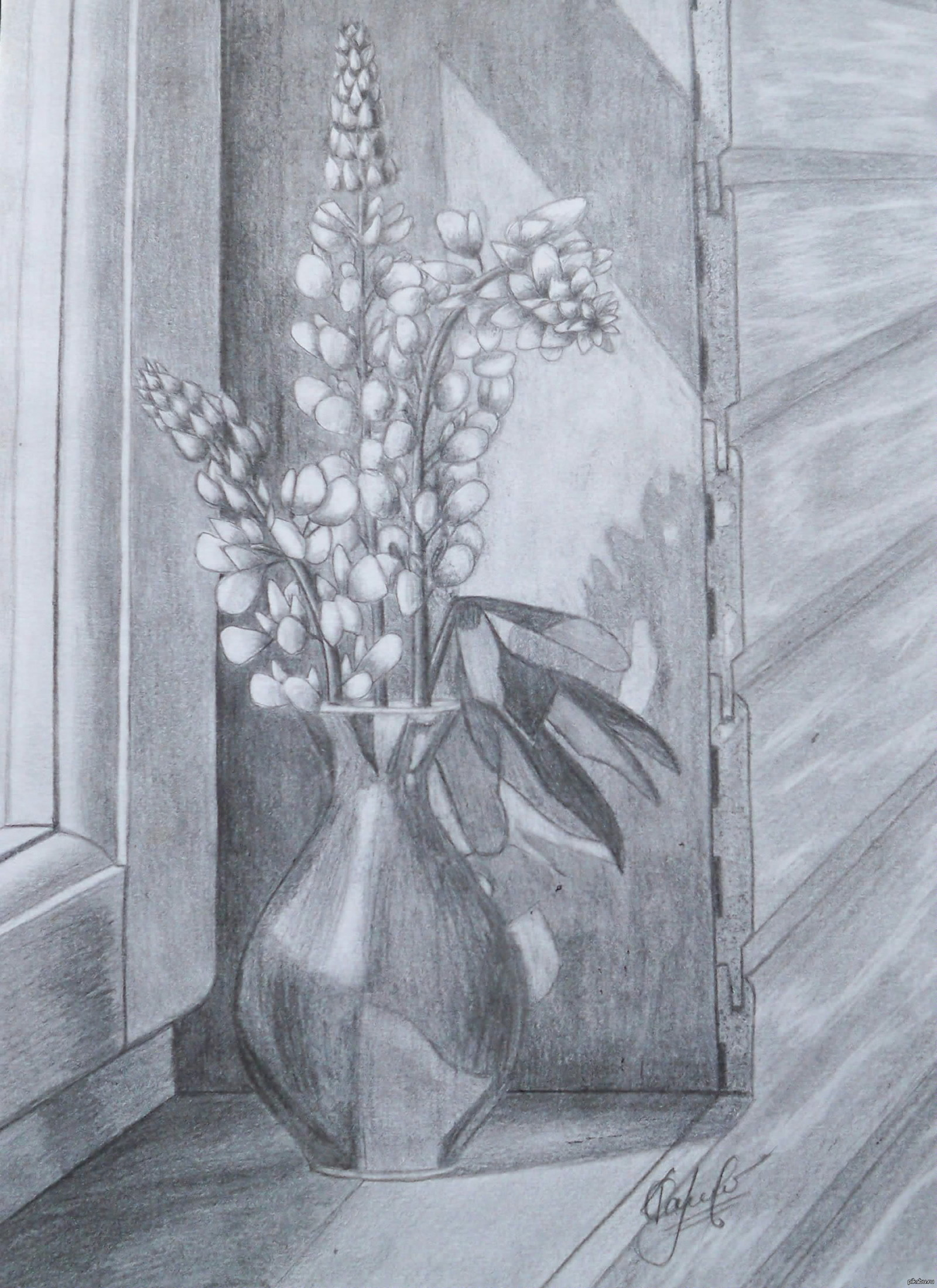 Картинки натюрморт карандашом цветы ему